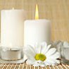 White candles burning