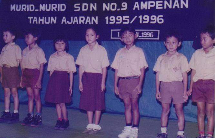 Sarah (4th from left) at school in Mataram