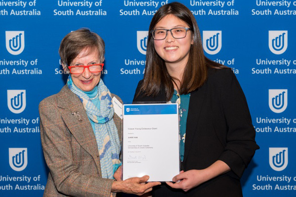 Gayle Cowan with Juhee Han, recipient of the Cowan Young Endeavour Grant