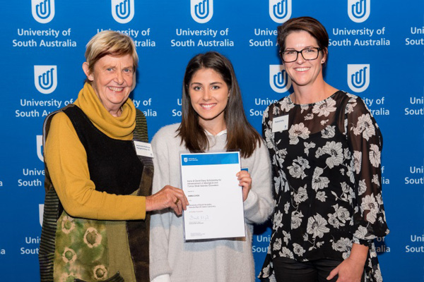 Trustees Associate Professor Margaret Davy AM and Shauna Henty and with recent scholarship recipient Kirra Dyer