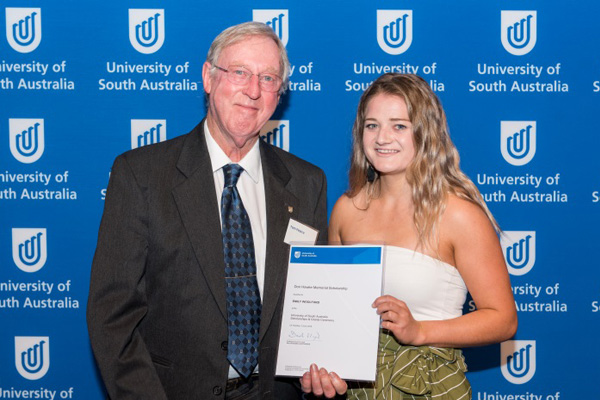 Tom Pearce with Emily Woolford, recipient of the Don Hawke Memorial Scholarship
