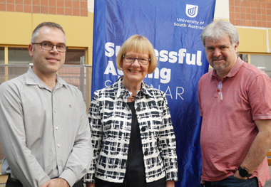 From left: Dr Ross Smith, Emeritus Professor Ruth Grant and Professor Mark Billinghurst