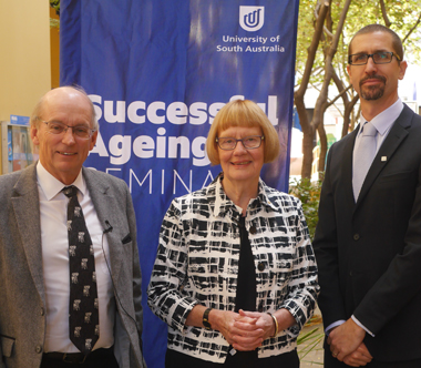 From left: LPrf John Ralston AO FAA FTSE, Emeritus Professor Ruth Grant and Dr Colin Hall